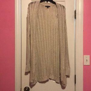 Taupe knit long cardigan